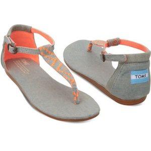 Toms Neon Coral & Gray Woven Playa T-strap sandal